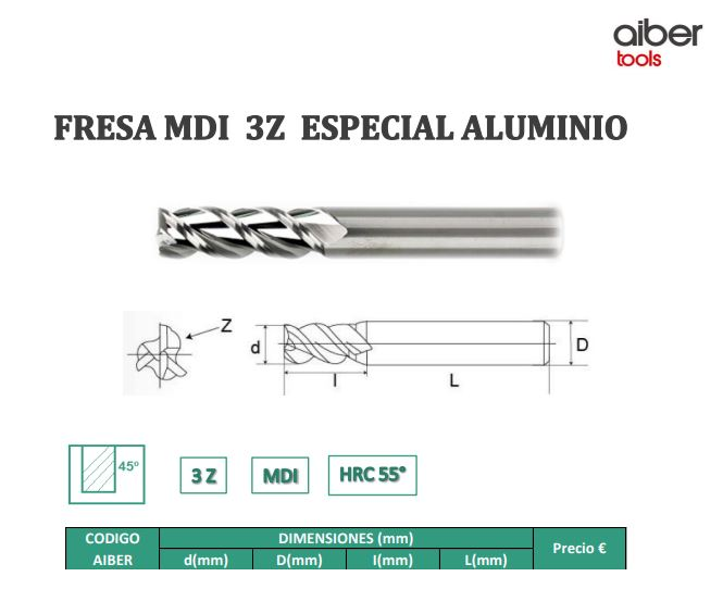 FRESAS 3Z ALUMINIO HRC55